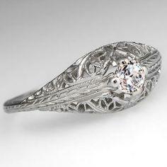 Antique Filigree Engagement Ring w/ Milgrain Details 18K White Gold