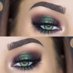 metallic emerald green smokey eye makeup