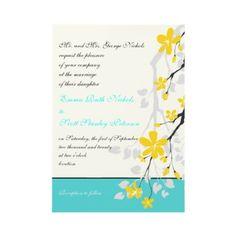 Flowers yellow turquoise wedding invitation by weddings_