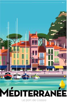 FRANCE Vintage Travel Style poster By Richard Zielenkiewicz, Méditerranée, Port de Cassis, France