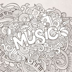 enjoy this free black and white music advanced coloring page - Music Coloring Pages