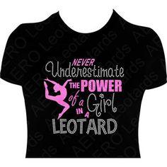 Gymnastics Glitter T-shirt with Rhinestones Gymnast Gymnastic Shirt T-shirt girls gift Never underestimate the power