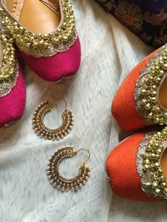 Pink and Orange Punjabi Juttis and Indian earrings finished with pearls by Tyche London