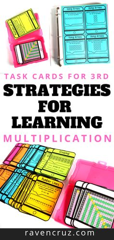 Learning Multiplication Strategies Learning multiplication doesn't have to be hard! These task cards cover 5 multiplication strategies to help students master multiplication fact fluency! The strategies cover are equal groups, arrays, repeated addition, s Multiplication Strategies, Multiplication Worksheets, Math Fact Fluency, Math Fractions, Repeated Addition, Math Notebooks, Interactive Notebooks, Interactive Learning, Math Graphic Organizers