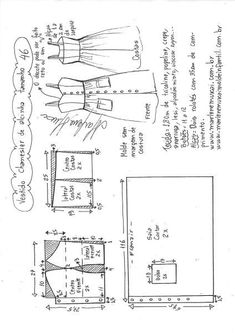 ideas for dress pattern diy vestidos Dress Sewing Patterns, Sewing Patterns Free, Sewing Tutorials, Clothing Patterns, Fashion Sewing, Diy Fashion, Sewing Clothes, Diy Clothes, Costura Fashion