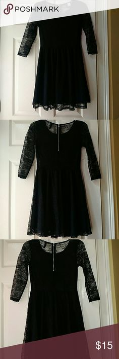 Lace LBT This dress was worn once . It's all lace and the top part is transparent so a bralette or something like that may be needed . There is a zipper on the back . H&M Dresses