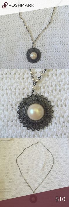 """Long necklace with faux pearls Long dark silver necklace with faux pearls. Measures 18"""" long total. Jewelry Necklaces"""