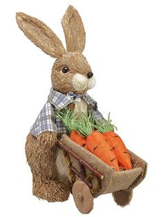Sisal Bunny With Carrot Cart Beige Orange Types Of Flowers, Silk Flowers, Artificial Flowers And Plants, Open Rose, Plastic Pots, Beige, Sisal, Rose Buds, Easter Bunny