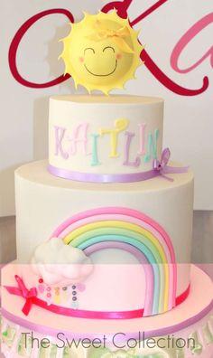 Kaitlin's Pastel Rainbow 3rd Birthday | CatchMyParty.com