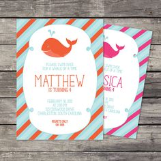 Whale+Party++15+Printed+Invitations+by+cranberrydesign+on+Etsy,+$20.00
