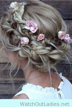 Festival crown braid with flower details