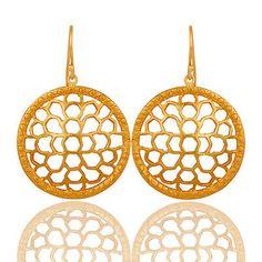 Handmade-Round-Circle-Brass-Earrings-18k-Gold-Plated-Art-Deco-Fashion-Jewelry