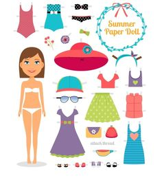Summer paper doll. Girl with dress by Microvector on Creative Market