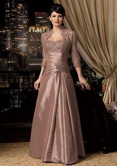 Trägerloser Ausschnitt Herz-Ausschnitt Braun Taft Kleider für die Brautmutter