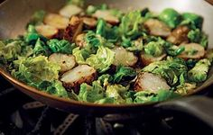 "Roasted Jerusalem Artichokes & Brussels Sprout Leaves – CleanPlate.com from Chef Michael Anthony's ""V is for Vegetables"""