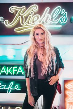 Barefoot Blonde Amber Fillerup At Let There Be Neon in New York City