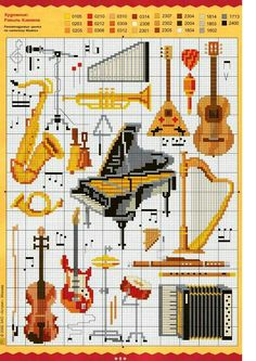 Instruments - free cross stitch pattern