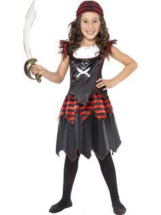 Childrens Girls Pirate Fancy Dress Costume Girl Black/Red/White by Smiffys Pirate Costume Fille, Pirate Costume Kids, Halloween Costumes For Girls, Halloween Kostüm, Girl Costumes, Costumes Kids, Fancy Dress For Boy, Pirate Fancy Dress, Girl Pirates