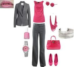 I'm liking the concept more on how color is mixed into the work outfit.  I'm not a pink person, though.