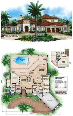 Mediterranean House Plan - HWEPL13160 | Real Estate | Pinterest ...