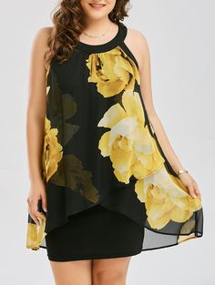 Plus Size Floral Print Overlay Sheath Dress in Black 5xl | Sammydress.com