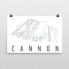 Cannon Ski Map Art Cannon Mountain New Hampshire Art Cannon