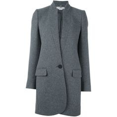 Stella McCartney 'Bryce' pea coat (€1.350) ❤ liked on Polyvore featuring outerwear, coats, grey, long sleeve coat, stella mccartney, stella mccartney coat, pea jacket and gray coat