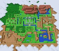 """""""the legend of zelda: a link to the past"""" lightworld map cross stitch with pattern"""
