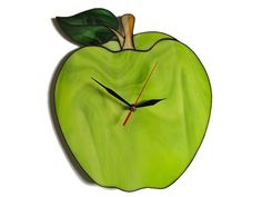 Green Apple Wall Clock  Large Lime Art Stained by ZangerGlass