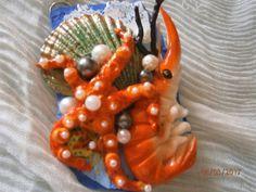 FONDALE MARINO collana in argilla polimerica che rappresenta fauna marina, con crostacei, conchiglie e perle di PaTrieste su Etsy