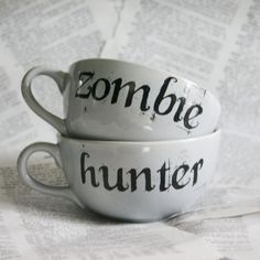 Zombie and Hunter Gray Teacup Set by geekdetails on Etsy, $32.00