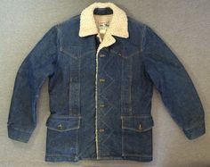 Vintage LEE Sherpa STORM RIDER Denim Jacket 70s MR Lined Indigo USA Cowboy Sz 46 #LEE #JeanJacket