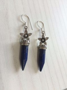 Colorz Of Earth: #Lapis #Gemstone Earrings in 925 Sterling Silver #ColorzOfEarth #DropDangle
