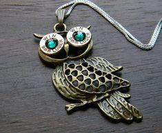 Antique Bronze Owl Bullet Necklace