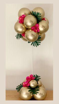 Chrome Gold Design by Sue Bowler - Balloon Arrangements, Balloon Centerpieces, Masquerade Centerpieces, Birthday Balloon Decorations, Birthday Balloons, Lollipop Decorations, Balloon Columns, Balloon Garland, Balloon Topiary