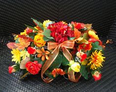 Headstone Floral Saddle Arrangement Forever Loved    About this Product:    This memorial headstone saddle arrangement was created during my