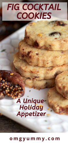 Surprise your holiday guests with these make-ahead fig cocktail cookies loaded with sherry-soaked dried figs, orange zest, rosemary, and toasted pecans. Dried Fig Recipes, Fruit Recipes, Fig Cookies, Cookies Et Biscuits, Easy Appetizer Recipes, Yummy Appetizers, Best Cookie Recipes, Holiday Recipes, Kitchen
