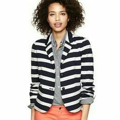 NWOT Striped Blazer Navy and white striped ponte blazer with peek-a-boo coral accents at collar and sleeve cuffs. Two front pockets. Lined. Lightly padded shoulders. GAP Jackets & Coats Blazers