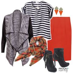 Halloween Inspired Fall Outfit Frugal Coupon Living Frugal Fashion Friday. Fall Style. Fall Fashion. Halloween Outfit. Dress up for Halloween without the costume! Each of these pieces in itself are super versatile with other outfits but, put them together and you've got a festive chic collection to wear to the office a Mom's Night Out or wherever you venture this Fall.