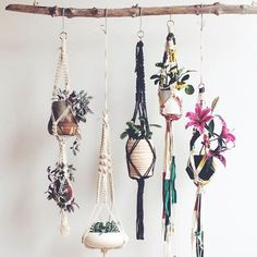 "We are obsessed with Macrame interior design pieces right now! We especially love that any design can be a ""Do It Yourself"" piece. Macrame comes from the early Deco Boheme, Boho Home, Deco Floral, Hanging Plants, Plants Indoor, Hanging Succulents, Pot Plants, Diy Hanging, Shade Plants"