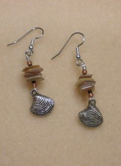 Shell and charm earrings-Cape Cod inspired. Contact me for your custom jewelry orders.