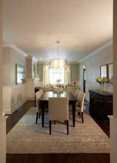 Dining room: replace wainscoting with textured, light colored wall paper?