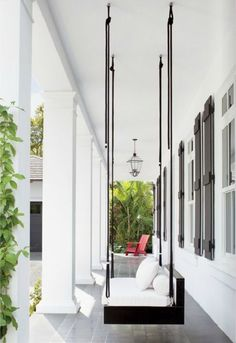 columns, swing, black and white, red