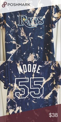 1942dec7c291 Acid wash Tampa Rays Matt Moore grunge tee ⚾ 💀 Cool navy blue and taupe