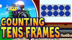 Tens Frames are an easy way to visualize numbers. Each car on the train adds a dot to the ten frame. This simple visual tool helps toddlers, Pre-K children a. Kindergarten Math Activities, Math Resources, Music Activities, School Songs, School Videos, Ten Frames, 10 Frame, Math Songs, 1st Grade Math