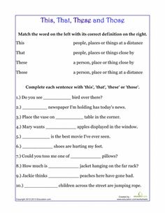 Worksheets: Demonstrative Pronouns