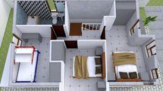 Small Home design Plan with 3 Bedroom - SamPhoas Plan 3d House Plans, Model House Plan, Dream House Plans, Small House Plans, Duplex House Design, Simple House Design, Minimalist House Design, Minimalist Home, Villa Design
