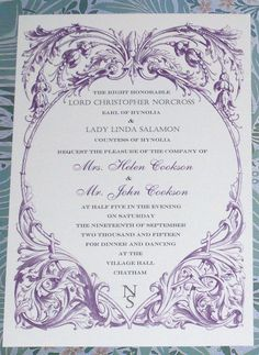 Downton Abbey Edwardian Dinner Party or Wedding Invitation from calligraphicstudio.com