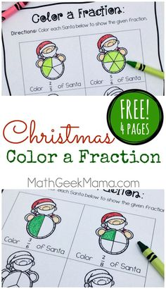 """Want a quick and easy way to reinforce fractions as well as equivalent fractions? This FREE set of """"color a fraction"""" pages can be differentiated for various ages and stages and is a fun way to practice math this holiday season! 3rd Grade Fractions, Teaching Fractions, Math Fractions, 4th Grade Math, Equivalent Fractions, Maths, Grade 3, Free Fraction Worksheets, Fraction Activities"""