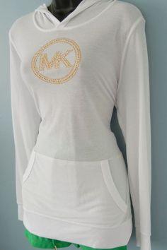 New Michael Kors Plus Size Waffle Hoodie White w/Studded-Gold Logo Size 0X #MichaelKors #WaffleKnitHooded